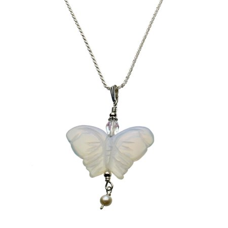 Opalite Glass Butterfly Pendant Sterling Silver Diamond-Cut Rope Chain Necklace 16