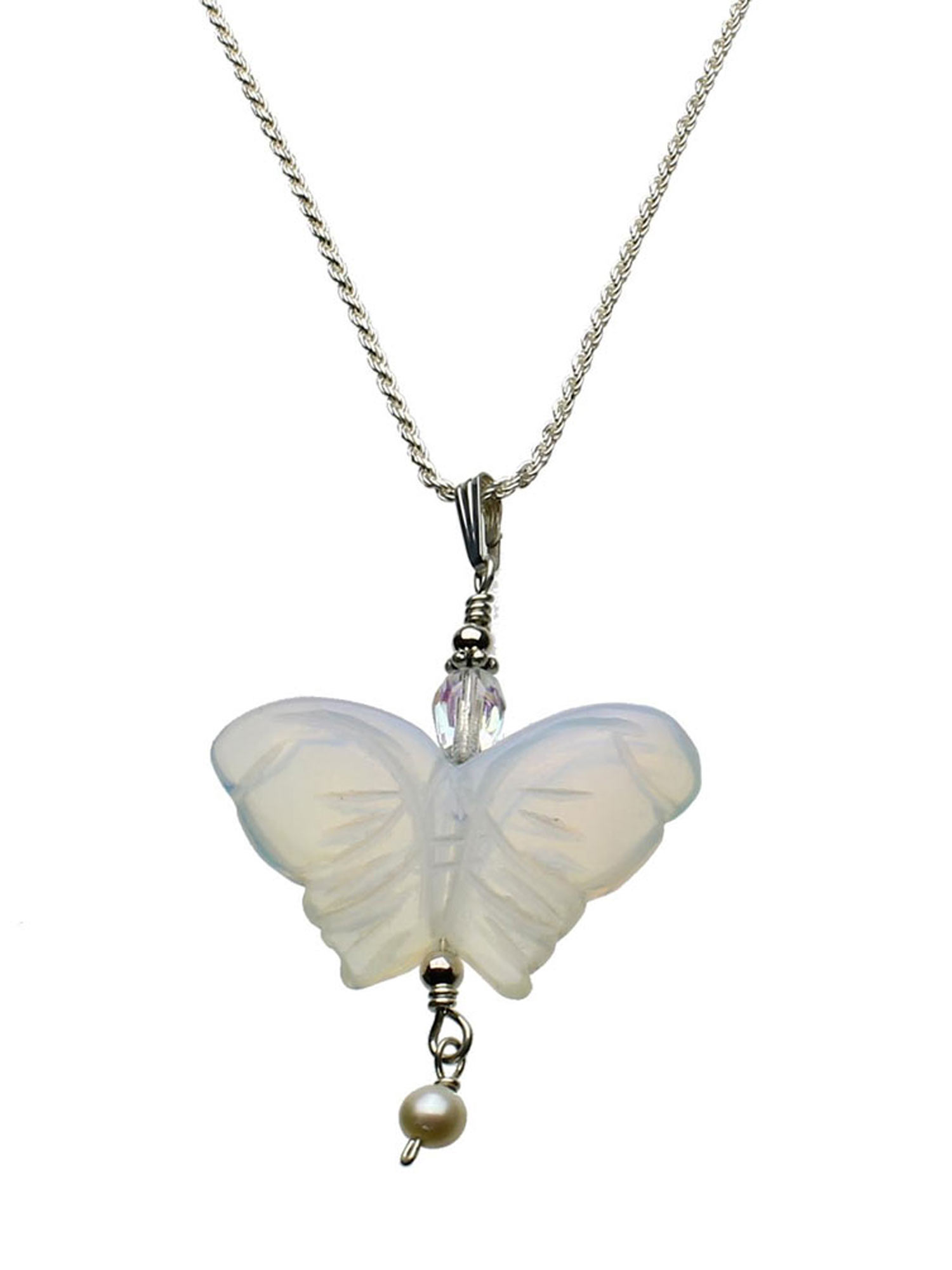 """Opalite Glass Butterfly Pendant Sterling Silver Diamond-Cut Rope Chain Necklace 16"""""""