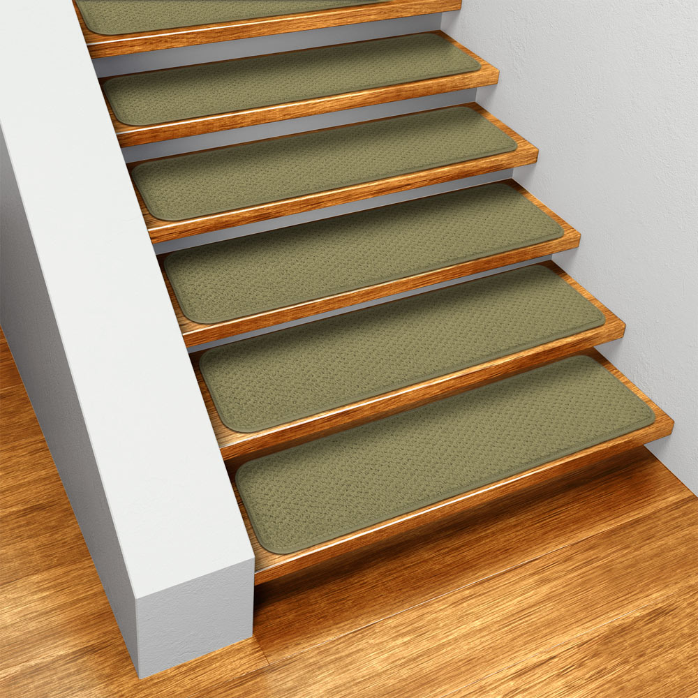 Set Of 15 Skid Resistant Carpet Stair Treads   Olive Green   8 In.