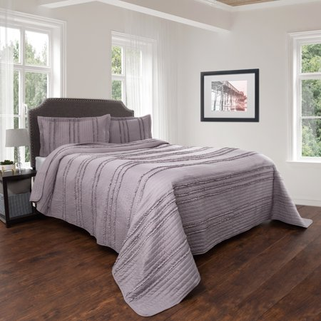 Quilt And Sham Set Hypoallergenic 2 Piece Oversized Twin Bed With Striped Ruffle