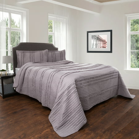 Quilt And Sham Set Hypoallergenic 2 Piece Oversized Twin Bed With Striped Ruffle Design Kadyn Series By Lavish Home Silver