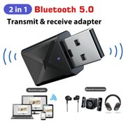 Bluetooth 5.0 Receiver Transmitter, 2-in-1 Mini USB Bluetooth Audio Transmitter & Wireless Bluetooth 3.5mm Aux Receiver Adapter for Car/Home Stereo System Speakers TV PC Projector CD (Black)