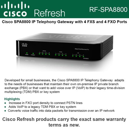 Cisco SPA8800 Refresh IP Telephony Pro Gateway VoIP phone adapter SIP 4FXS  4FXO