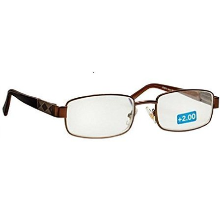 Foster Grant Harry Mens Brown Metal Rectangular Reading Glasses (Reading Glasses Stores)