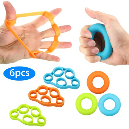 Finger Strengthener, EEEKit 6-Pack Finger Exerciser Hand Grip Strengthener Hand Resistance Bands Grip Strength Extensor Trainer For Arthritis Carpal Tunnel Tendonitis
