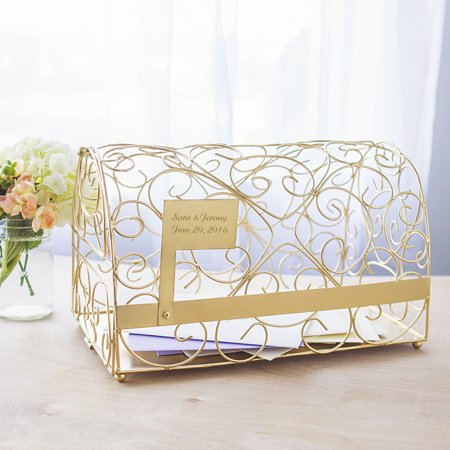 Personalized Reception Gift Card Holder Mailbox in Gold for $<!---->