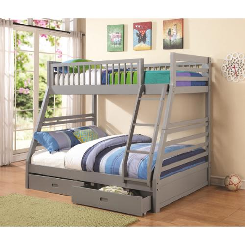 Twin over Full Bunk Bed-Finish:Grey
