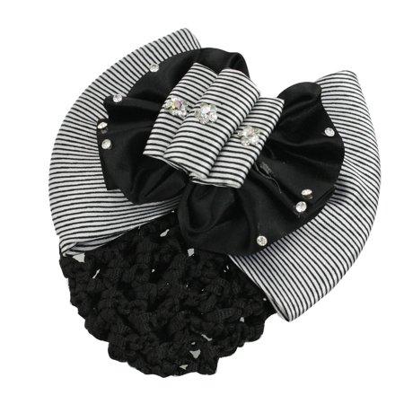 Unique BargainsWoman Snood Net Black White Stripe Ruffled Bow Barrette Hair Clip ()