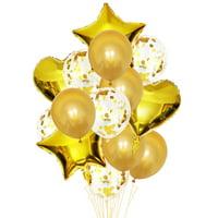 Fancyleo 14 Pcs/Set Confetti Wedding Birthday Balloons Heart Latex Foil Kids Boy Girl Baby Party