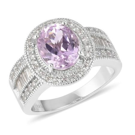 Halo Ring 925 Sterling Silver Kunzite White Zircon Size 6 Ct - Kunzite Ring
