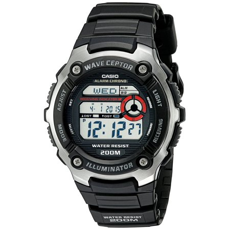Men's WV200A-1AV Waveceptor Watch with Black Band, Sport watch with round multi-function dial featuring auto receive function, auto EL backlight.., By Casio