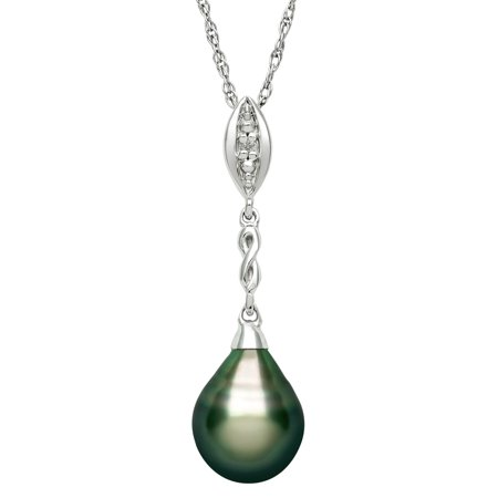 Pearl Diamond Accent (9-10mm Tahitian Black Pearl and Diamond Accent Sterling Silver Drop Pendant, 18