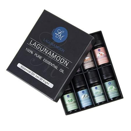 Lagunamoon Essential Oils Set Top 8 - Lavender,Tea Tree,Eucalyptus,Lemongrass,Frankincense,Orange,Rosemary,Peppermint Essential Oil for Aromatherapy