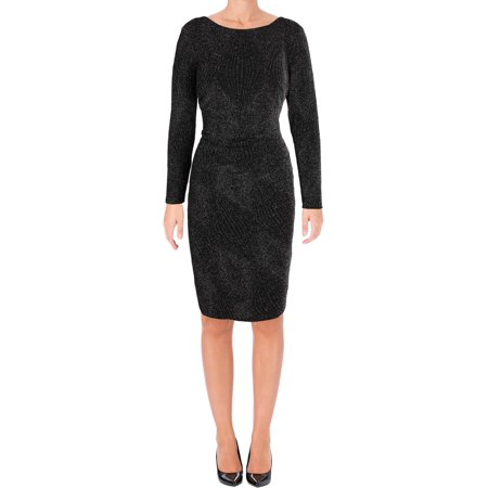 Ralph Lauren Toddler Dresses (RALPH LAUREN Womens Black Metallic Jacquar Long Sleeve Jewel Neck Knee Length Sheath Cocktail Dress  Size: 2 )