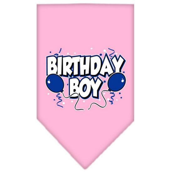 Mirage 66-05 SMLPK Birthday Boy Screen Print Pet Bandana Light Pink Small