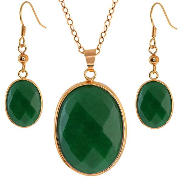 "Stunning Jadelite Faceted Green Color Oval 1"" Pendant + 1/2"" Earrings Set"
