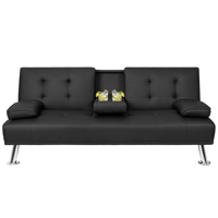 Walnew Modern PU Leather Convertible Futon