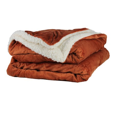 Throw Blanket - Micro Mink and Lambswool Sherpa (Burnt (Lambswool Throw Blanket)