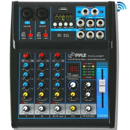 - Pyle PMXU43BT - 4-Ch. Bluetooth Studio Mixer - DJ Controller Audio Mixing Console System