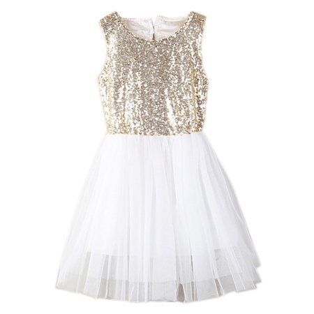 StylesILove Toddler Kids Gold Sequin Tulle Sleeveless Flower Girl Dress (100/18-24 Months) - Dress Kids Girl