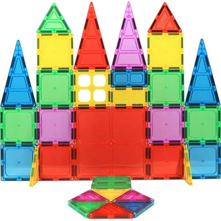 Magnet Build Deluxe 32 Piece 3D Magnetic Tile Building Set Extra Strong Magnets and Super Durable Tiles, Educational, Creative, Assorted Shapes and Vibrant Bright Colors Colored Glass Tile Magnets