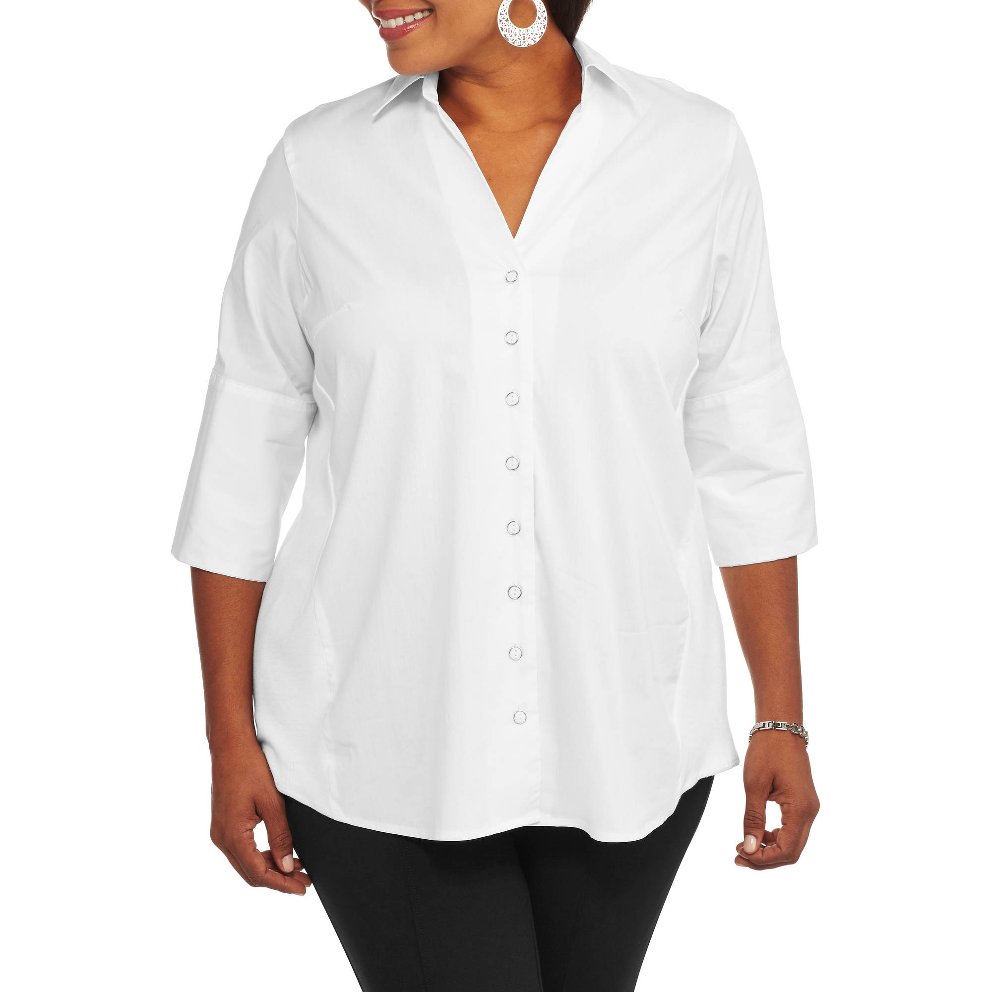 Brooke Leigh Women's Plus Side Stretch Career Blouse