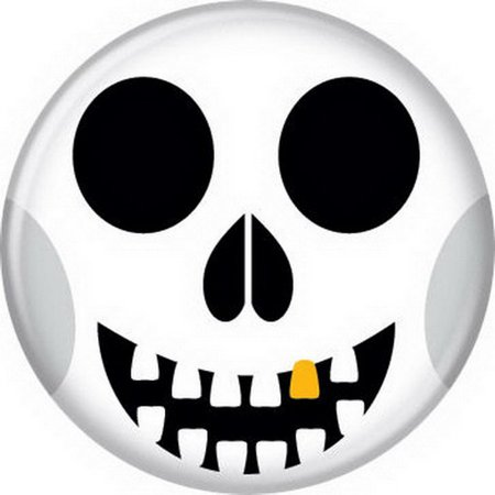 Halloween Skull Face Button 82093 - Halloween Half Skull Face Paint