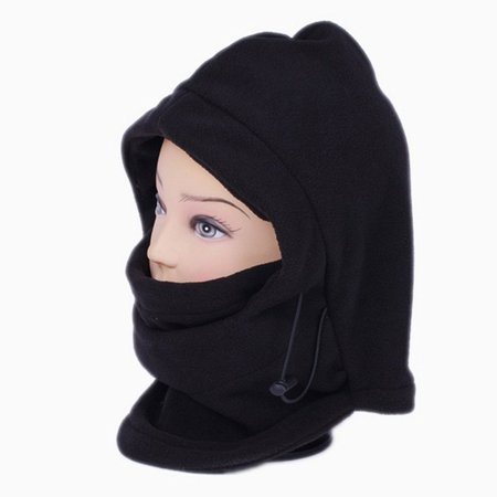 Multipurpose Use 6 in 1 Thermal Warm Fleece Balaclava Hood Police Swat Ski Bike Wind Stopper Full Face Mask Hats Neck Warmer Outdoor Winter Sports Snowboard Proof (Black)