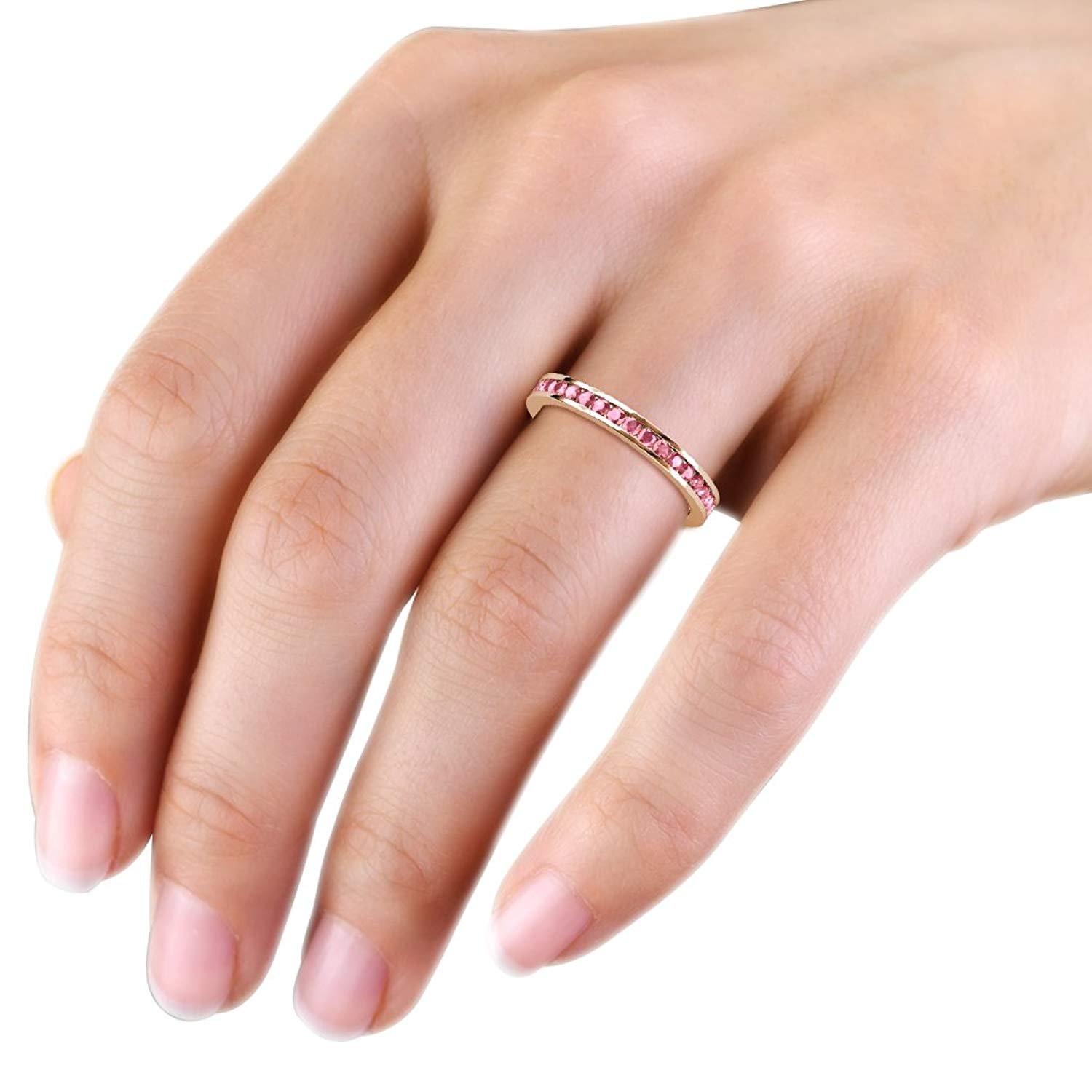 Pink Tourmaline 2mm Channel Set Eternity Band 0.59 Carat tw to 0.70 ...