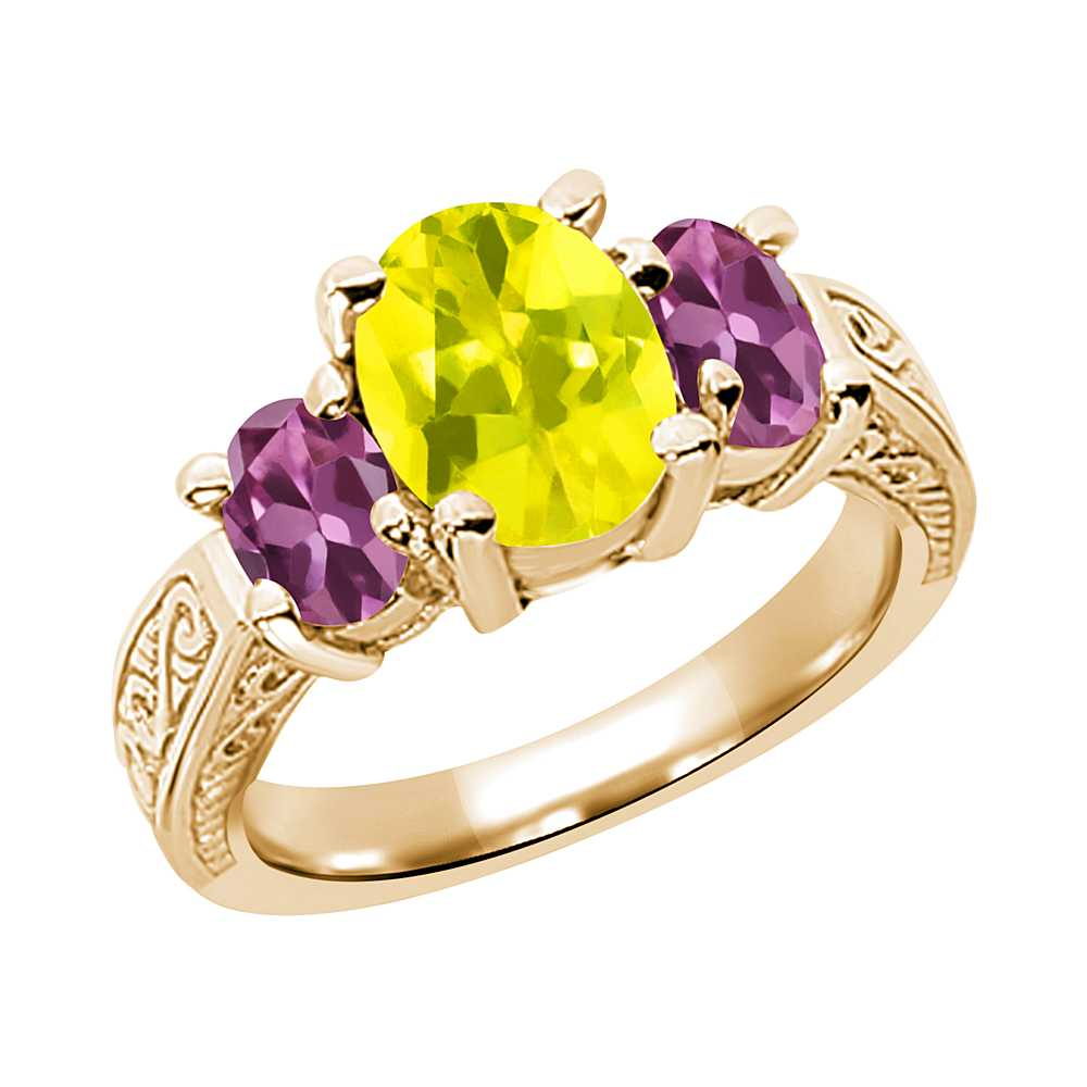 3.30 Ct Oval Canary Mystic Topaz Pink Tourmaline 14K Yellow Gold 3-Stone Ring by