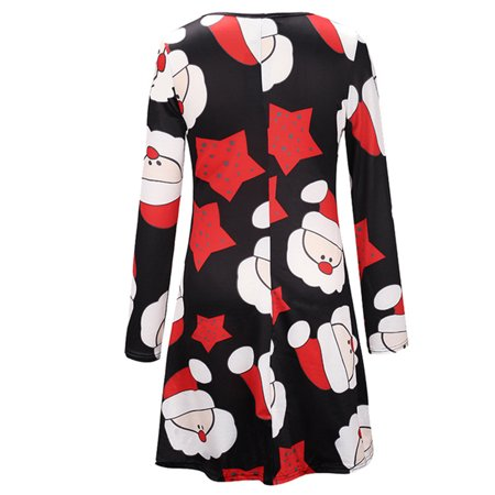 Ustyle Mother Kids Matching Outfits Long Sleeve Dress Christmas Pringting Short Dress - image 2 of 9