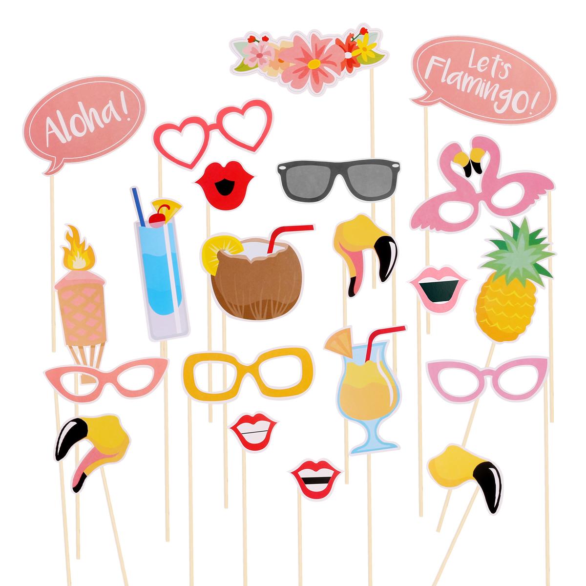 21pcs Flamingo Hawaii Themed Summer Party Photo Booth Props Kit DIY ...