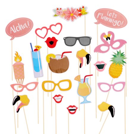 21pcs Flamingo Hawaii Themed Summer Party Photo Booth Props Kit DIY Luau Party Supplies for Holiday Wedding Beach - Wedding Booth Props
