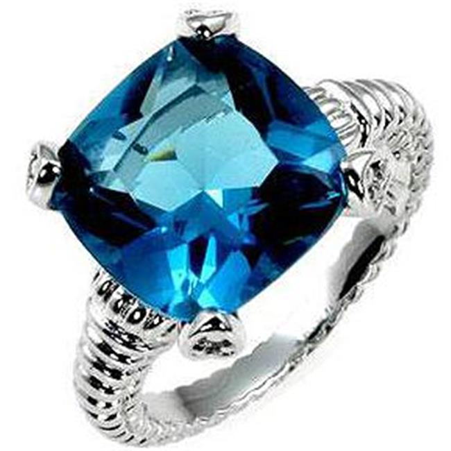 Aqua Cushion Engagement Ring, <b>Size :</b> 05