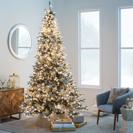 flocked blue ridge spruce christmas tree with instant glow power pole by sterling tree company walmartcom
