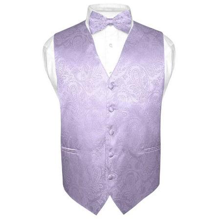 Vest Bow Tie (Men's Paisley Design Dress Vest & Bow Tie LAVENDER Color BOWTie Set for Suit)
