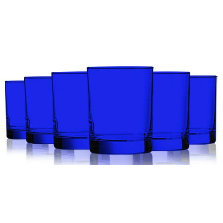 Cobalt Blue Colored Beverage Aristocrat Double Old Fashioned Glasses - 14 oz. set of 6- Additional Vibrant Colors (Bright Orange Glass)