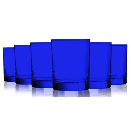 Mikasa Beverage Glass - Cobalt Blue Colored Beverage Aristocrat Double Old Fashioned Glasses - 14 oz. set of 6- Additional Vibrant Colors Available