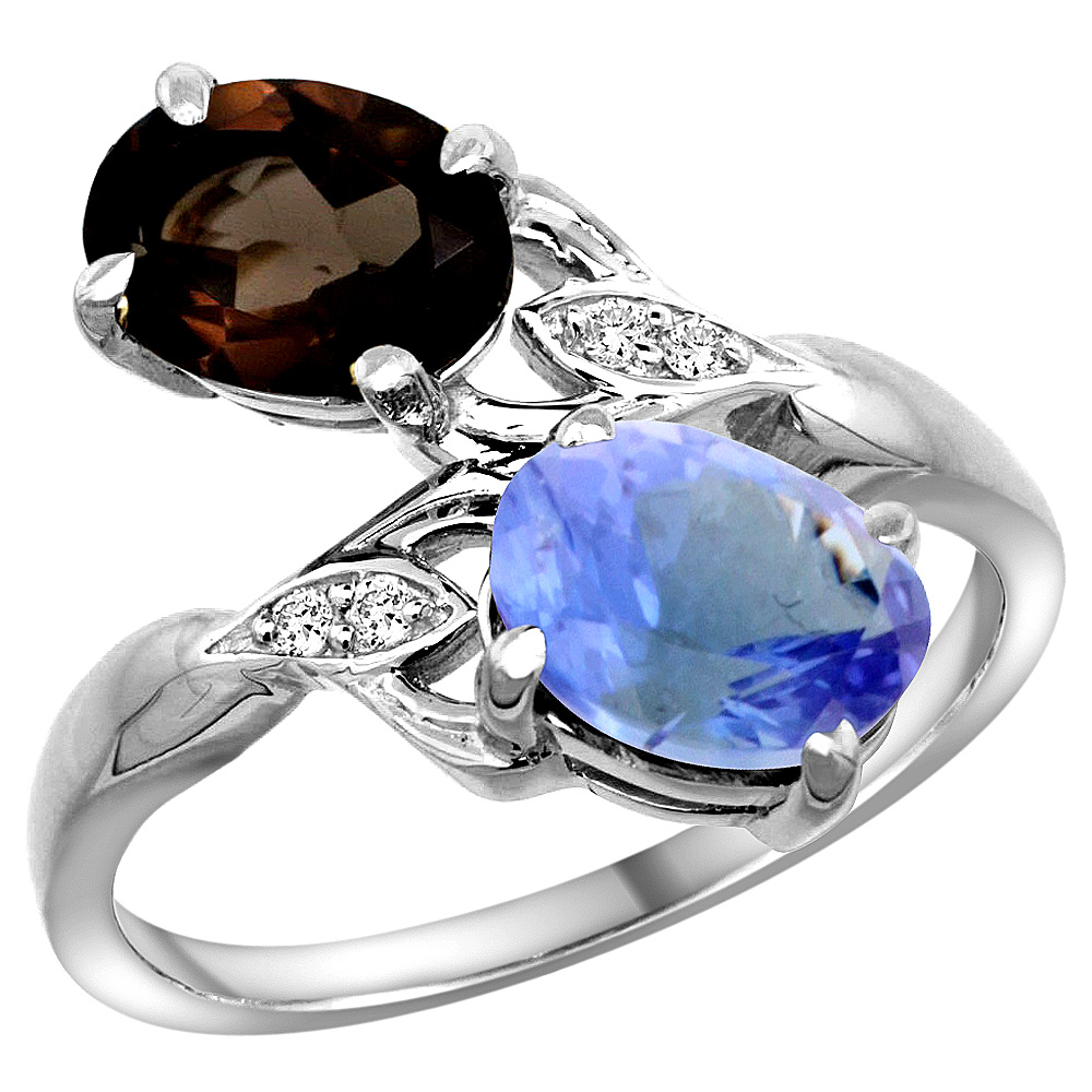 14k White Gold Diamond Natural Smoky Topaz & Tanzanite 2-stone Ring Oval 8x6mm, size 5 by Gabriella Gold