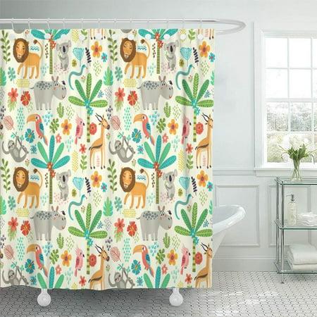 Toucan Green Shower Curtain Bath Mat Toilet Cover Rug Animal Bathroom Decor
