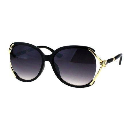 Womens Oversize Floral Rhinestone Bling Butterfly Fashion Sunglasses Black Smoke