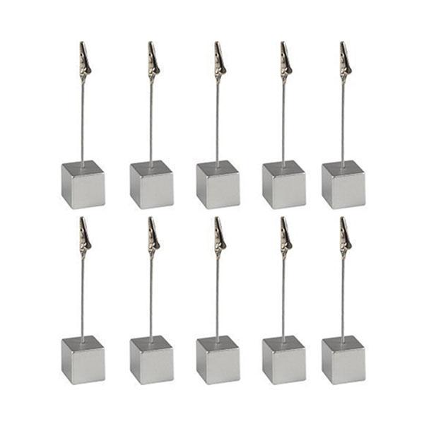 Square 10pcs Wooden Photo Holder Cube Base Card Note Desktop Clips Memo Pad Holder Table Number Holders Name Card Holders Memo Clip