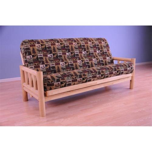 Lodge Futon in Natural Finish with Fairbanks Evergreen Mattress