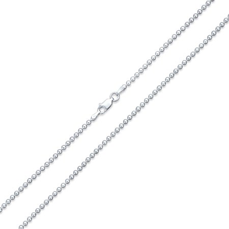 Round Ball Bead Chain Necklace 220 Gauge Made in Italy 925 Sterling - Bead Chain Necklace