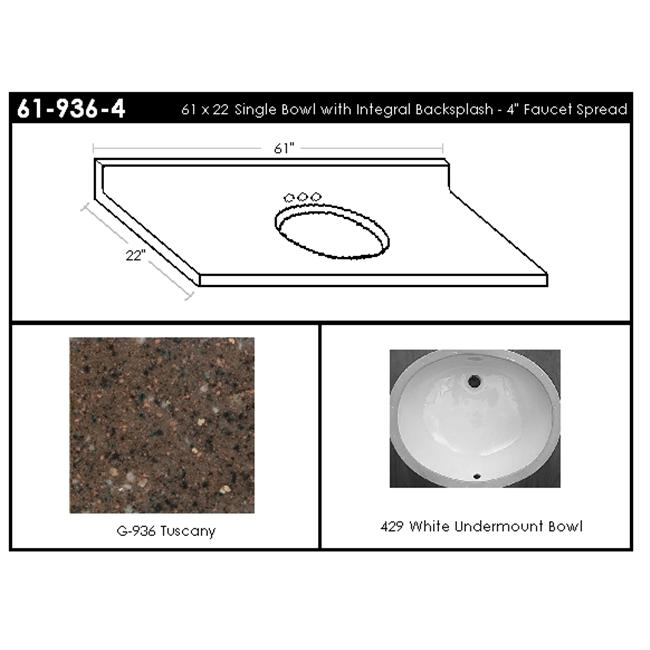 MarCraft 61-936-4 Single Bowl Vanity Top