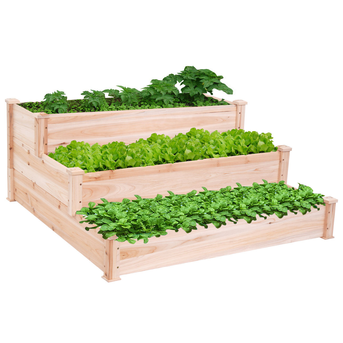 Costway Wooden Raised Vegetable Garden Bed 3 Tier Elevated Planter Kit Outdoor Gardening by Costway