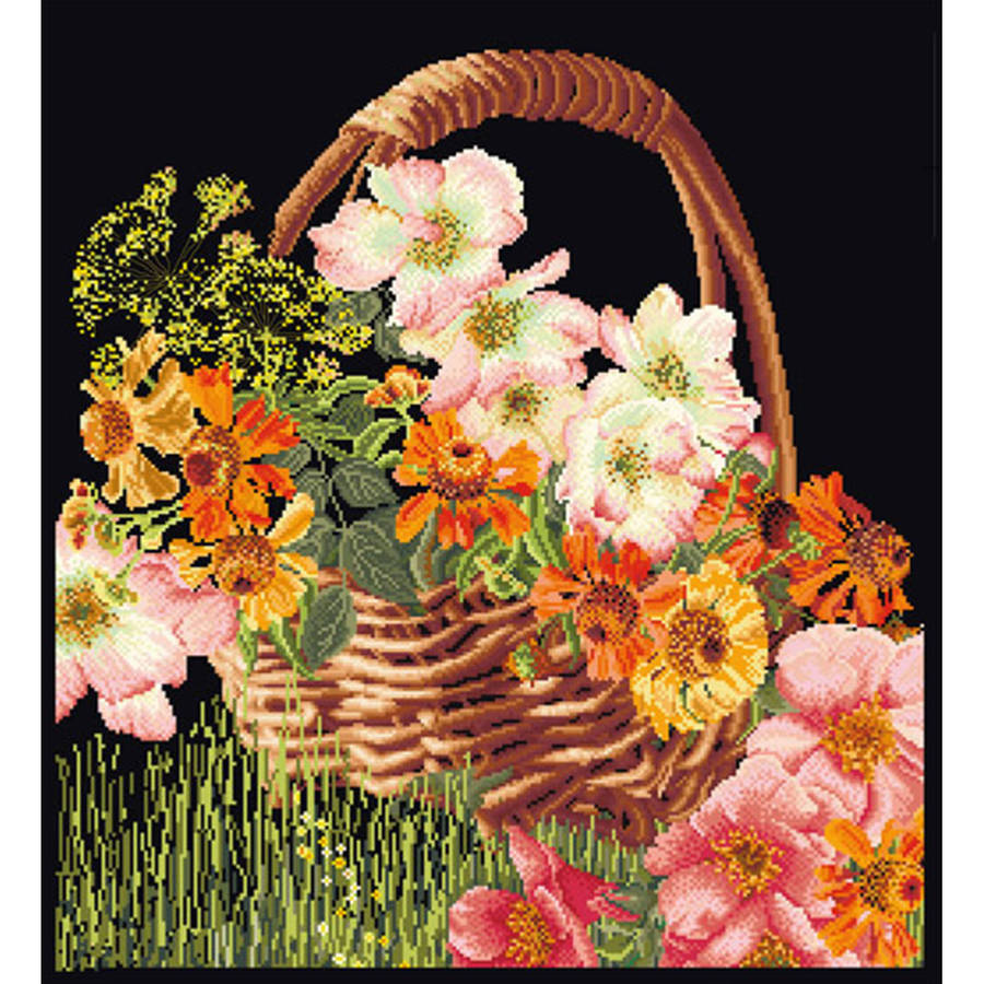 """Flower Basket On Aida Counted Cross Stitch Kit, 13.25"""" x 15.25"""", 18 Count"""