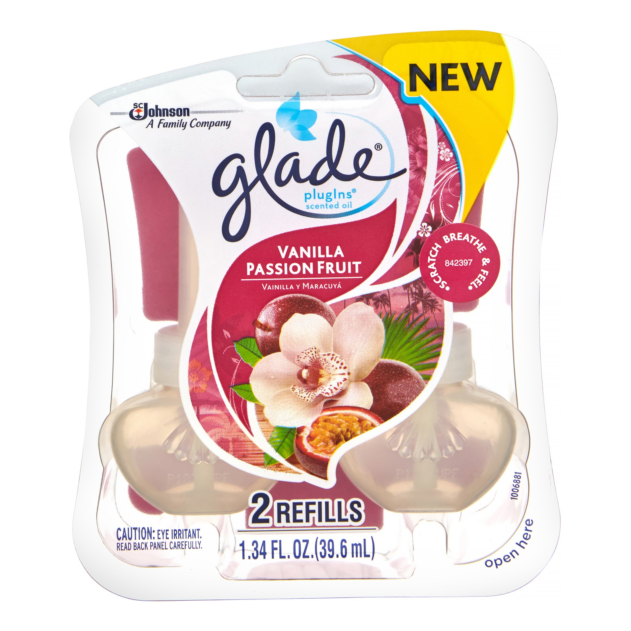 Glade Plug In Refill, Vanilla Passion Fruit, 1.34 Fl. Oz. (Pack of 2)
