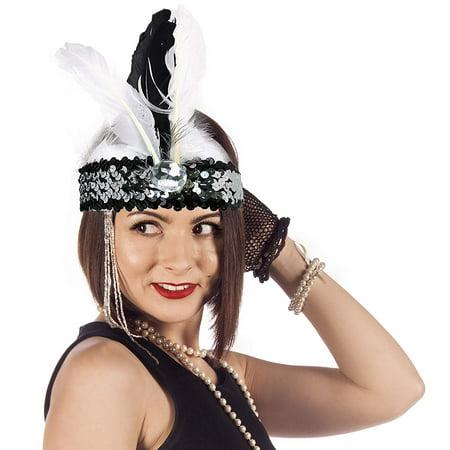 Roaring Twenties Hair Accessories (Skeleteen Roaring Twenties Flapper Headband - Women's Early 1920's Flapper Headpiece - 1)