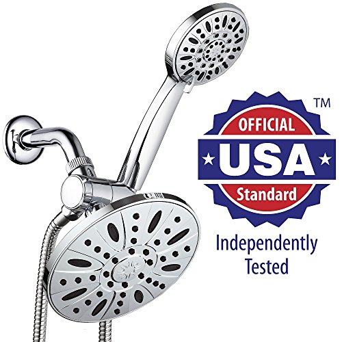 AquaDance High Pressure 3 way 7 inch Rainfall Shower Head and 4 inch Hand shower